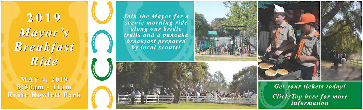 Homepage slide with information about the Mayor's Breakfast Ride 2019.