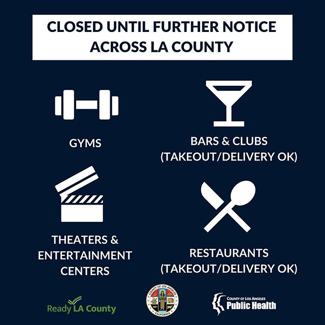Closed Until Further Notice LA COUNTY